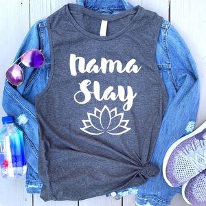 Tops - Nama Slay lotus tee graphic muscle tank top New!
